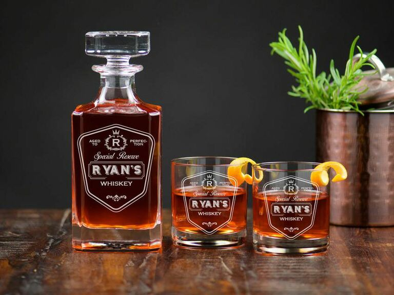 personalized whiskey decanter with glasses