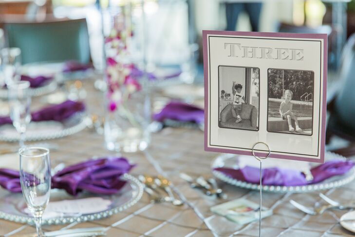 Cassandra and Josh added a personal touch to their reception with each table number. Surrounded by a purple border to match their color scheme, each accent included a few family photos of the couple. As friends and family surrounded the table, this type of decoration can also serve as a point of conversation among guests.