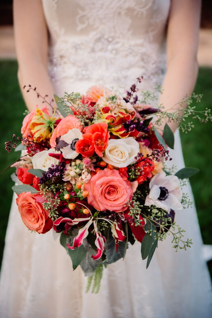 Anemone, Pink Rose and Seeded Eucalyptus Bridal Bouquet