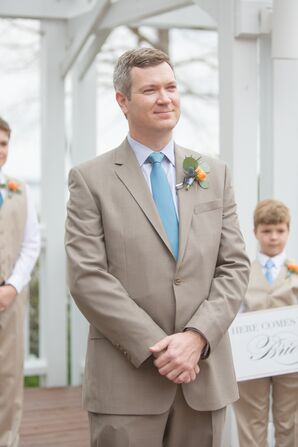 Taupe Wedding Suit With Blue Tie