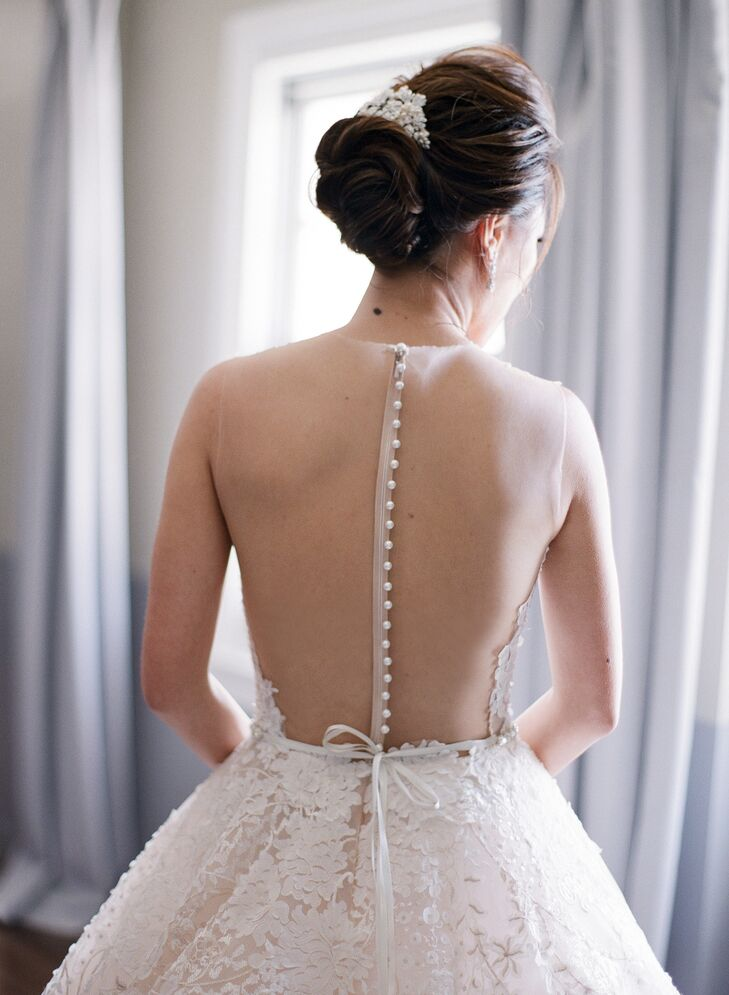 Elegant Sheer-Back Wedding Dress and Updo