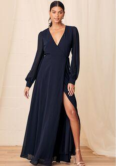 Lulus My Whole Heart Dark Navy Blue Long Sleeve Wrap Dress Bridesmaid Dress
