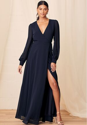 Lulus My Whole Heart Dark Navy Blue Long Sleeve Wrap Dress Bridesmaid Dress