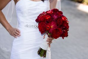 Red Ranunculus, Rose and Dahlia Bouquet