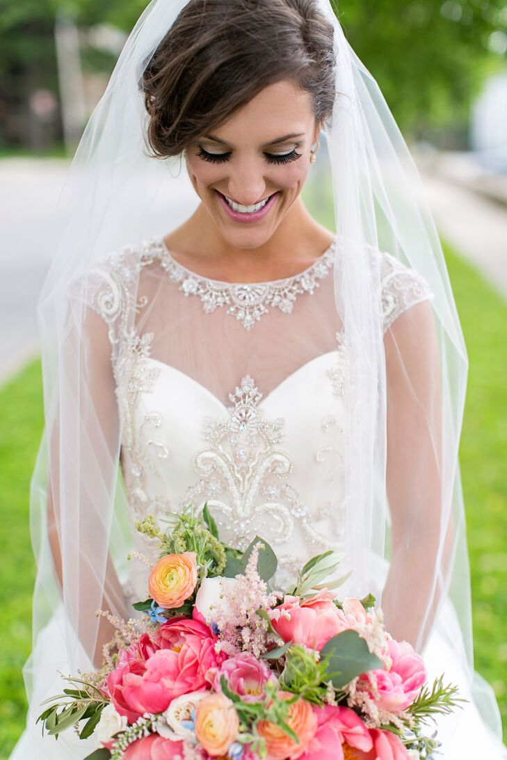 CB Couture Illusion Neckline Wedding Dress