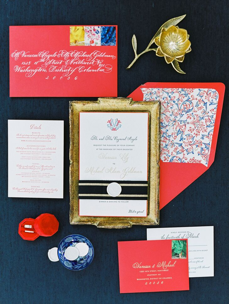 Elegant Red Invitation Suite with Calligraphy and Custom Crest