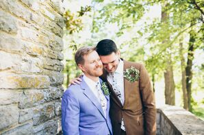 Grooms in Blue and Brown Suits with Skinny Floral Ties
