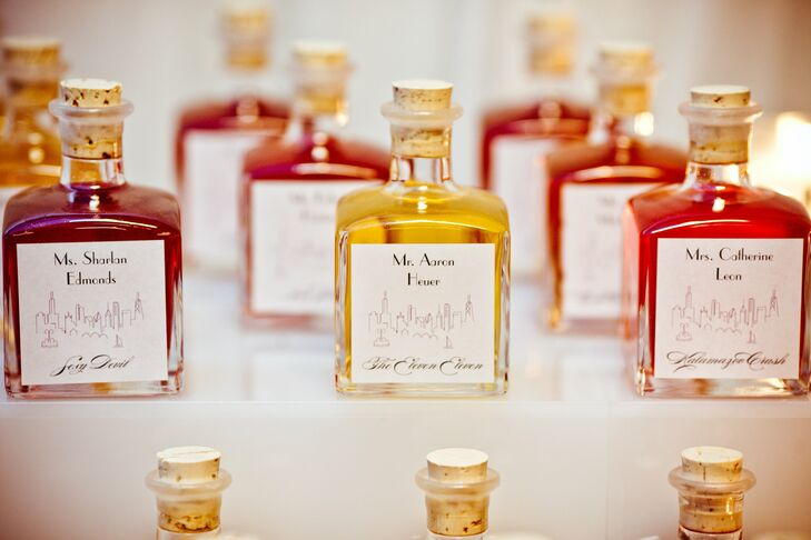Instead of escort cards, each guest's name was placed on a bottle of infused vodka, which also served as a favor.
