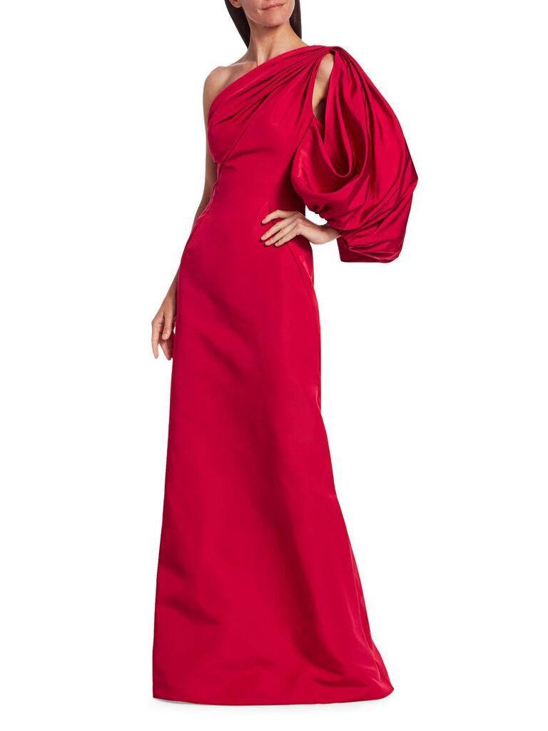 Zac Posen one-shoulder puff-sleeve silk faille gown
