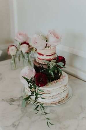 Romantic Naked Cake with Dahlias and Roses