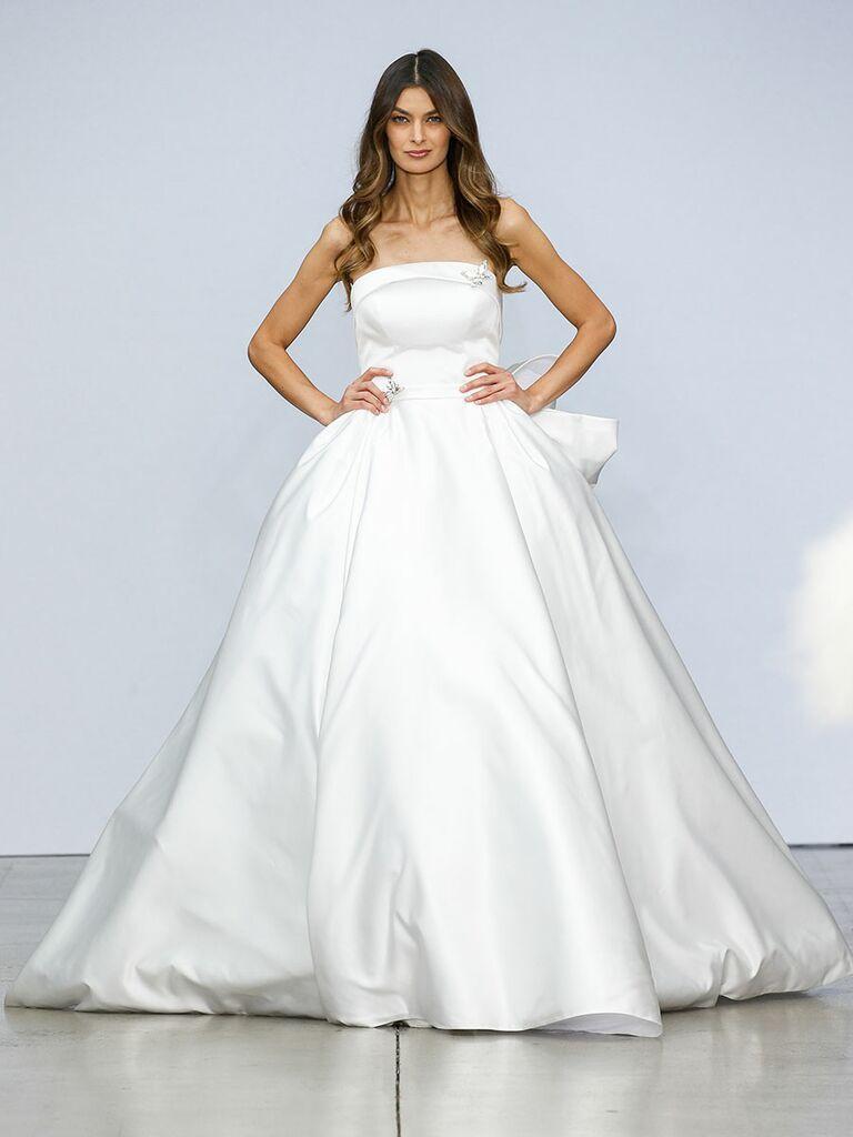 Pnina Tournai wedding dress strapless satin ball gown with back bow