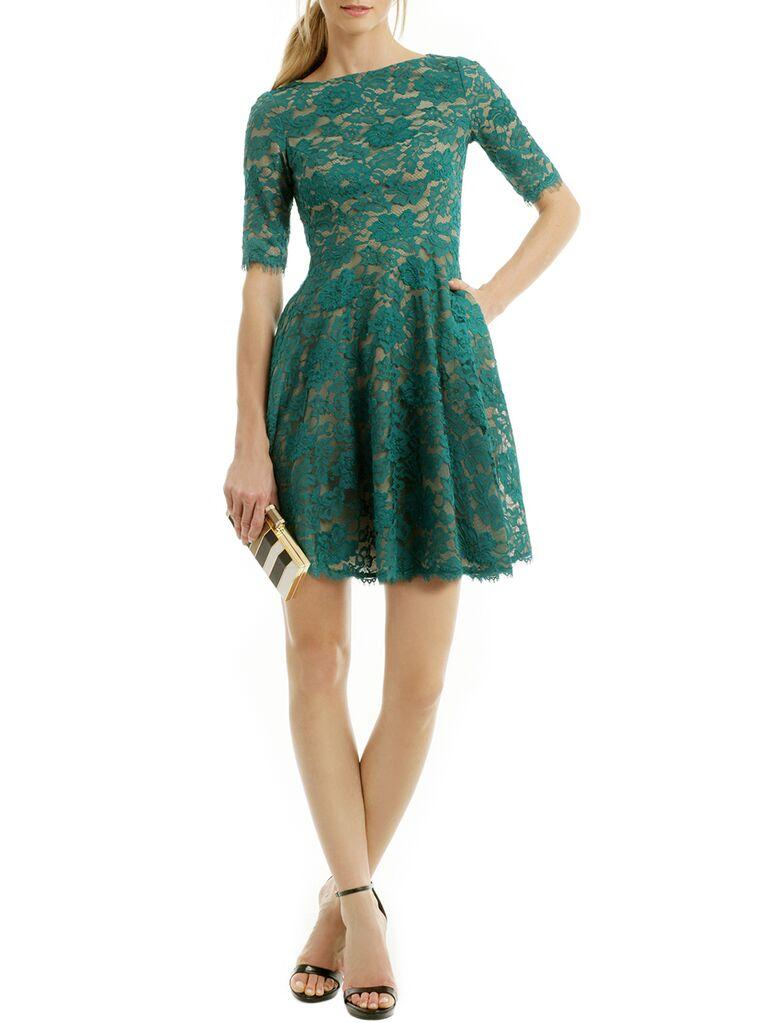 Green lace 3/4 length sleeve mini dress