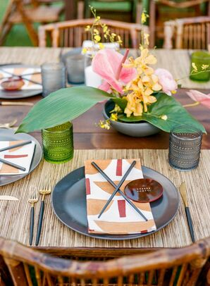 Tropical Place Setting with Chop Sticks for Reception in Kapalua, Hawaii