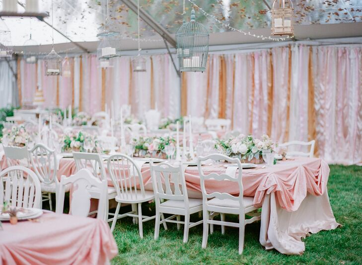 Whimsical Tented Reception wth Hanging Birdcage Lanterns