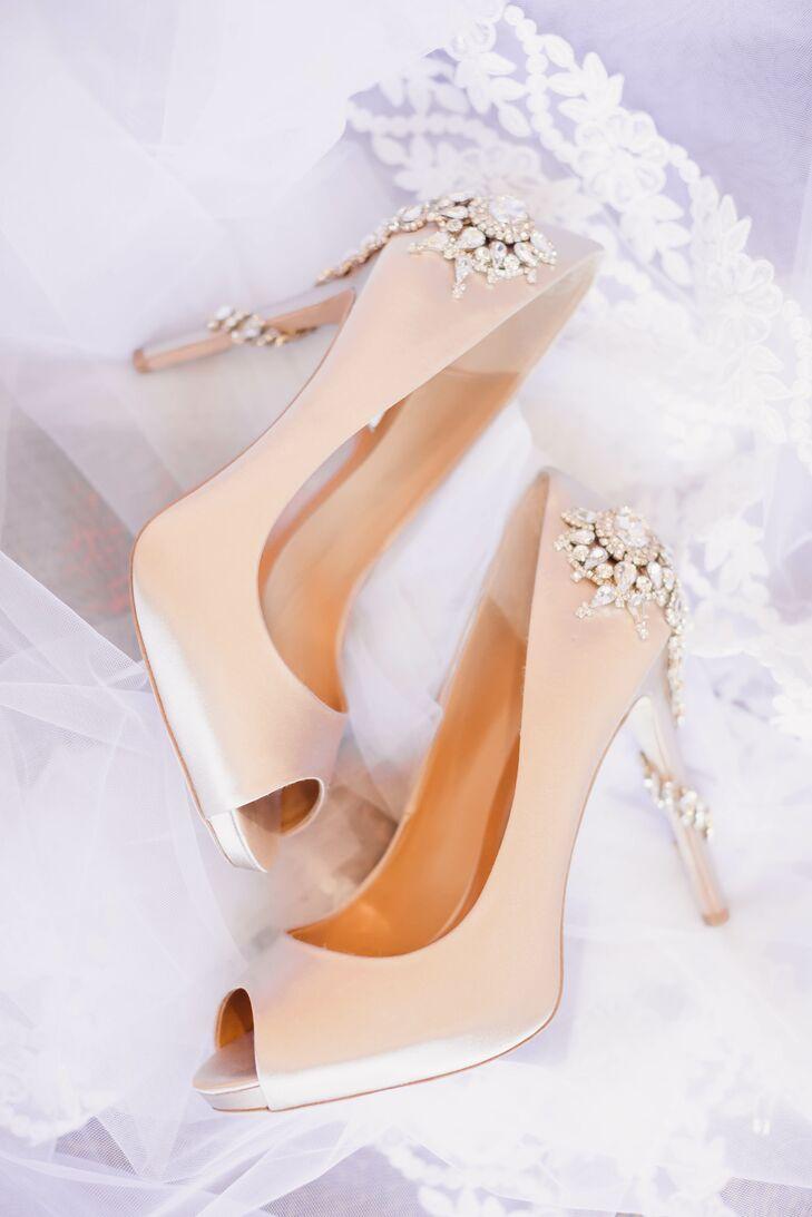 Blush Peeptoe Heels With Crystal Heel Embellishment