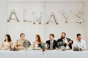 Modern Wedding Party with Silver Balloon Sign