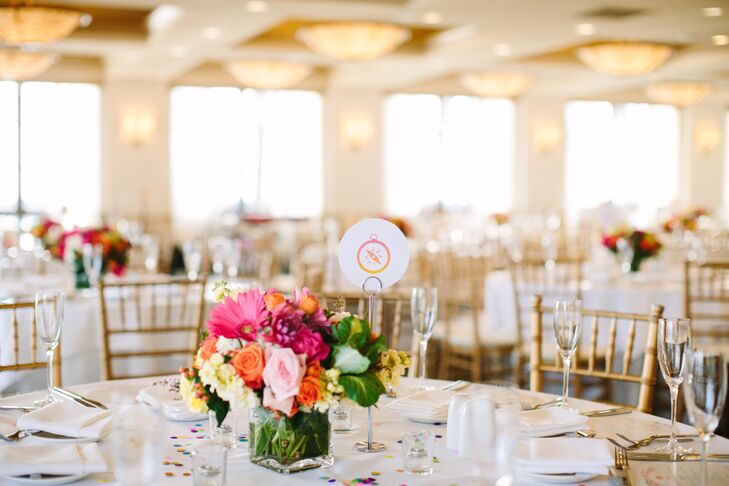 Florist Kathy Buffandeau set each table with small but powerfully colorful centerpieces.