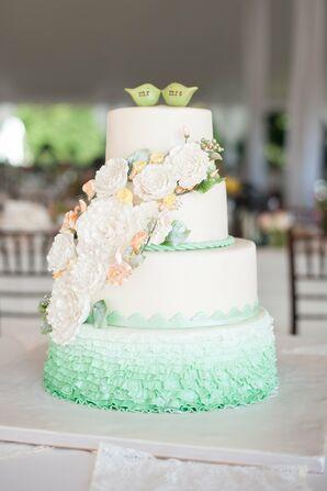Green and White Ruffle Cake