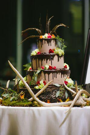 Whimsical Earthy Groom's Cake With Antlers