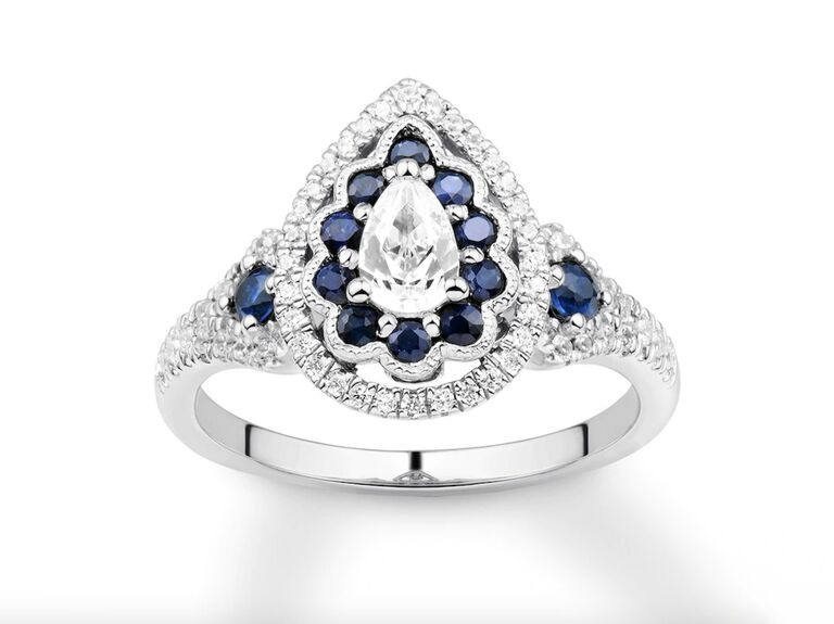 Kay Jewelers diamond and sapphire engagement ring in 14K white gold
