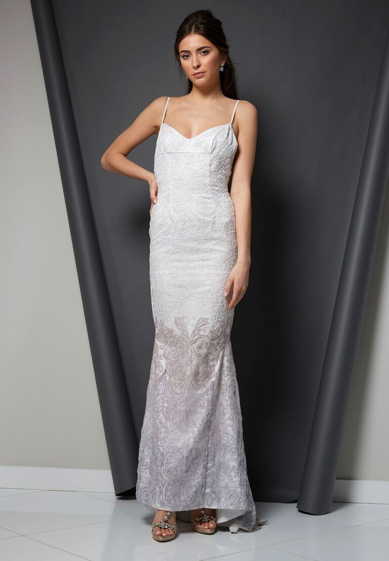 Randi Rahm Spring 2020 Bridal Collection embroidered wedding dress with spaghetti straps