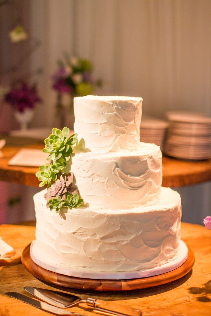 The couple chose a simple, white cake with succulent adornments.