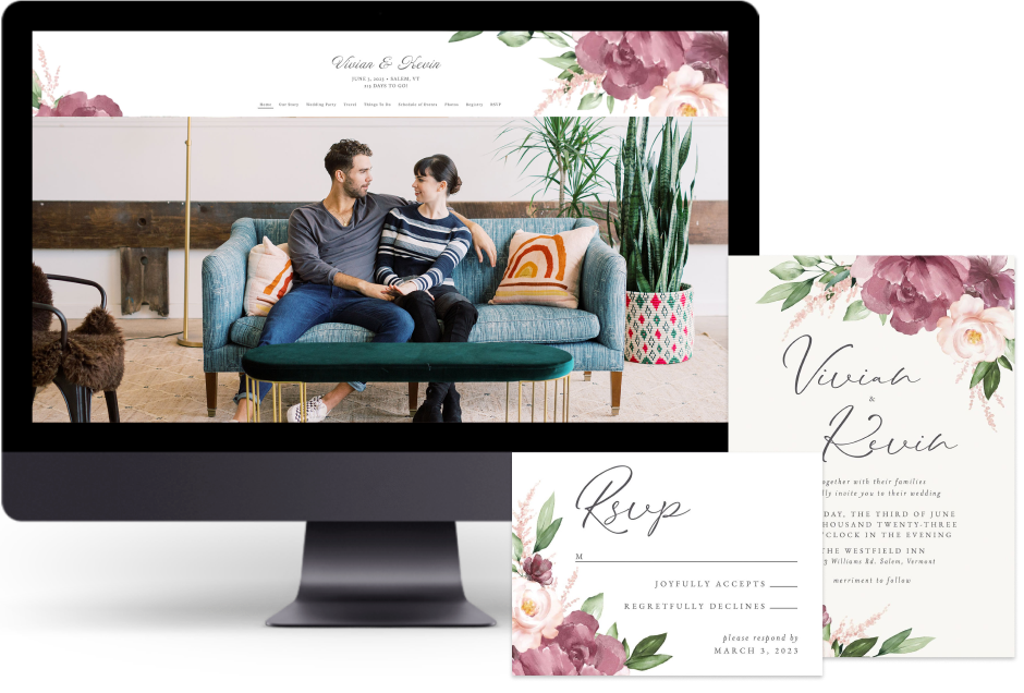 Purple Beloved Floral wedding website design with matching paper suite