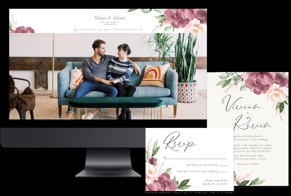 Purple Beloved Floral wedding website design with matching paper suite