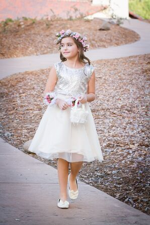White and Silver Flower Girl Dress
