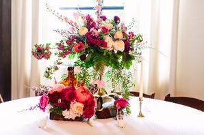 Eclectic Pink Floral Centerpieces and Vintage Decor