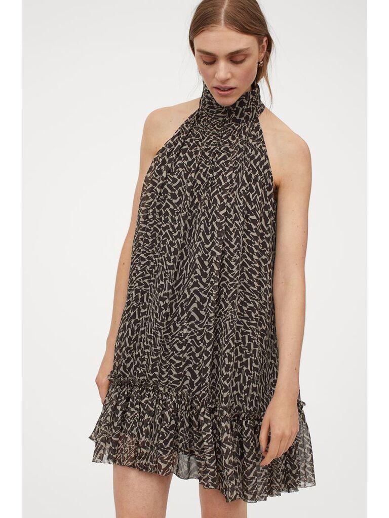 A-line chiffon printed mini dress with high neckline