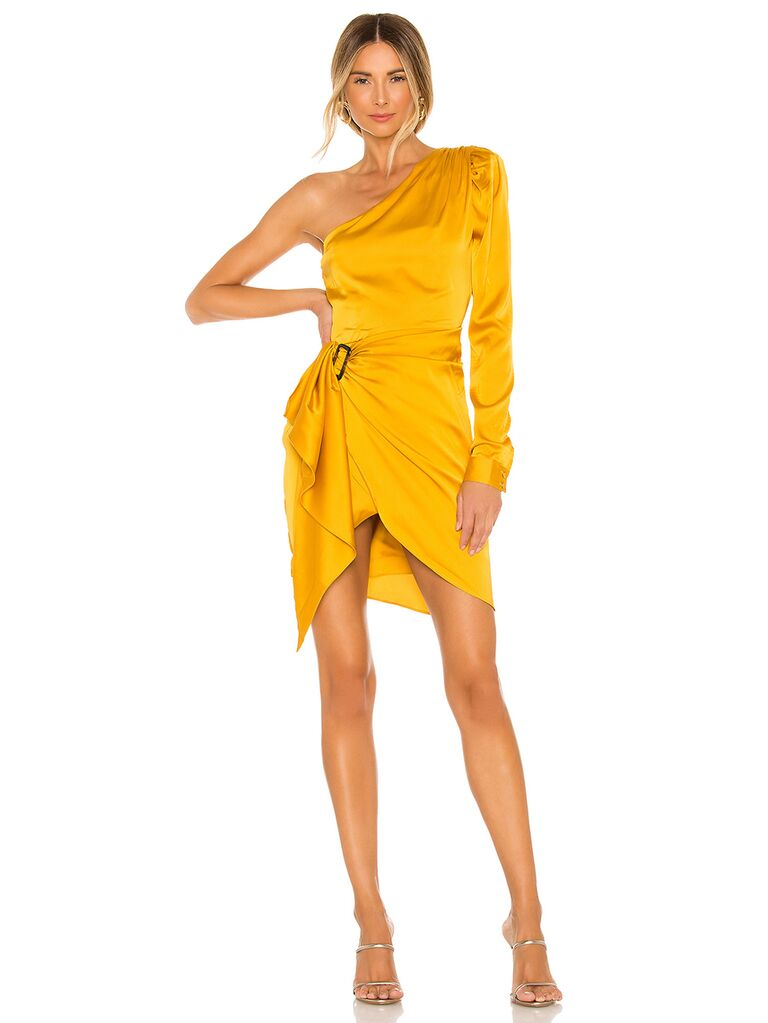 Yellow mini dress with one-shoulder long sleeve