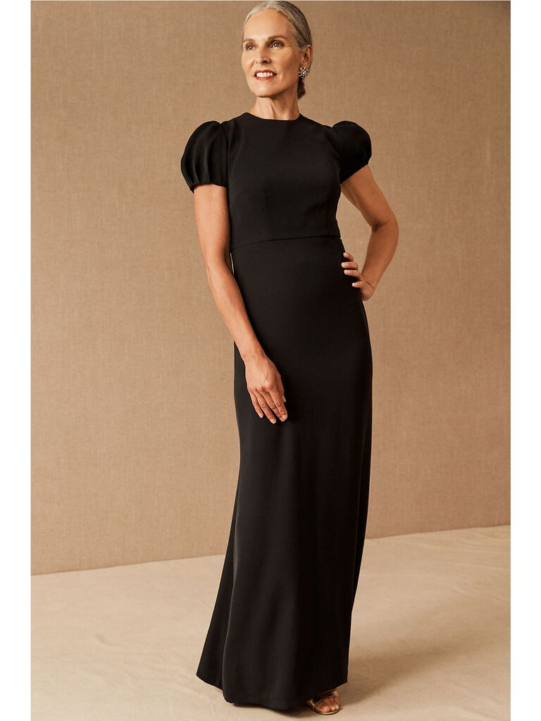 Simple black fitted dress with puff cap sleeves