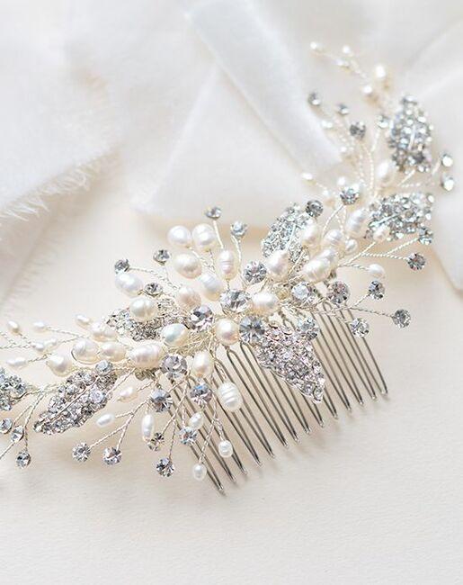 Dareth Colburn Maura Pearl & Crystal Comb (TC-2413) Silver Pins, Combs + Clip