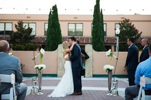 First Kiss at Outdoor Ceremony