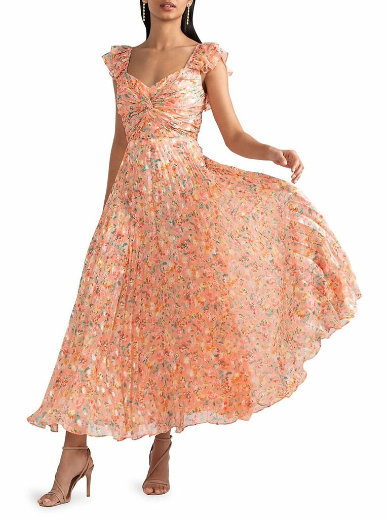peach foral print pleated dress with ruffle straps