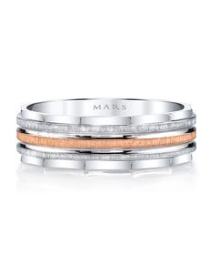 MARS Fine Jewelry MARS Jewelry G102 Men's Band Rose Gold, White Gold Wedding Ring