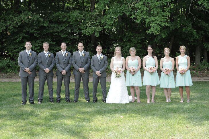 Mint Chiffon Cocktail Bridesmaid Dresses