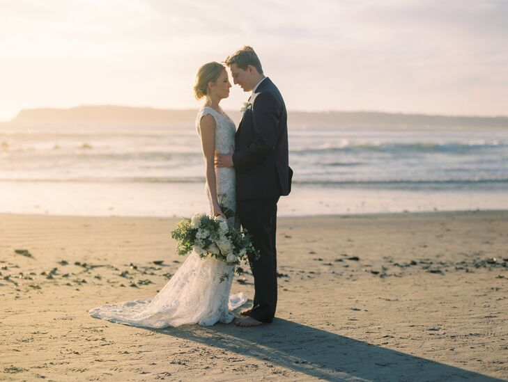 "After a traditional Mormon church ceremony nearby, the newlyweds were eager to celebrate with a relaxed, beachside reception at Hotel del Coronado in San Diego, California. ""When Jason and I talked about our wedding, we wanted it to feel close-knit and special,"" Eliza says. ""We wanted something beautiful and fun."""