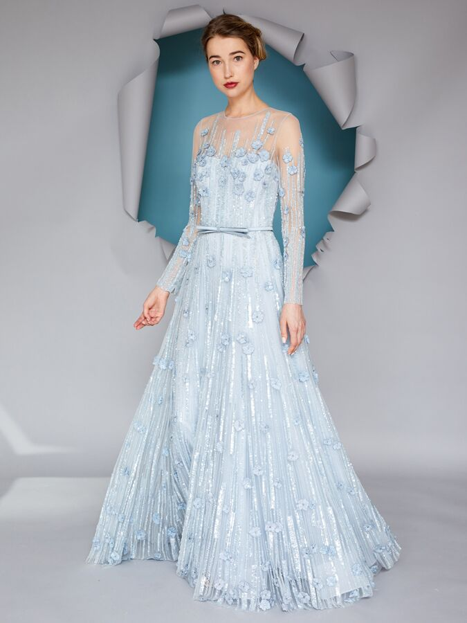 Gracy Accad blue embroidered belted dress
