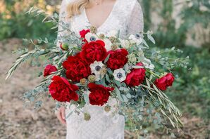 Whimsical Bouquet with Red Peonies, White Anemones and Scabiosa Pods