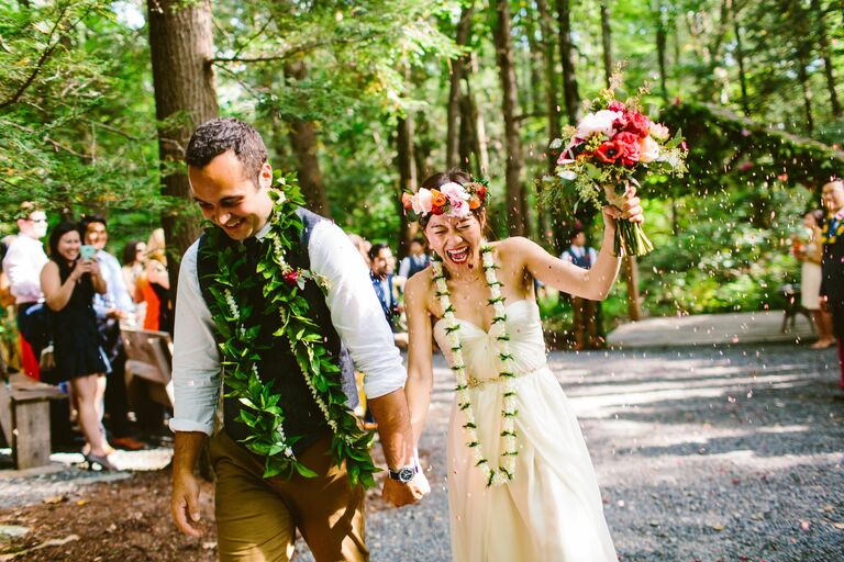 couple laughing casual forest natural wedding