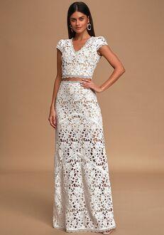 Lulus Special Moments White Crochet Lace Two-Piece Maxi Dress Sheath Wedding Dress