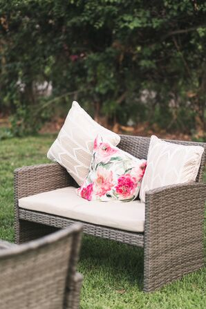 Gold Chevron and Pink Floral Lounge Pillows