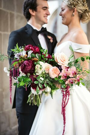 Pink and Fuchsia Bouquet with Roses, Peonies and Amaranthus