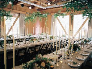 Rustic Reception Space With Iron Chandeliers
