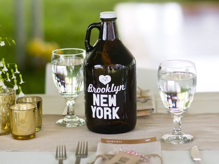 Beer growler wedding table number