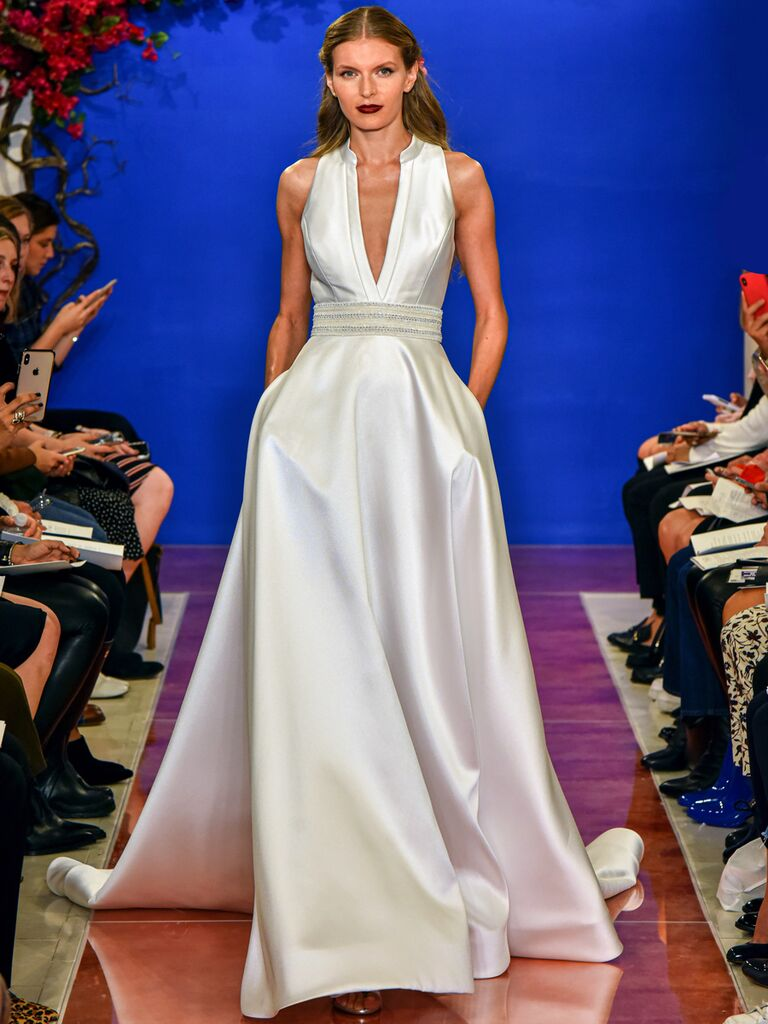 theia wedding dress with collar