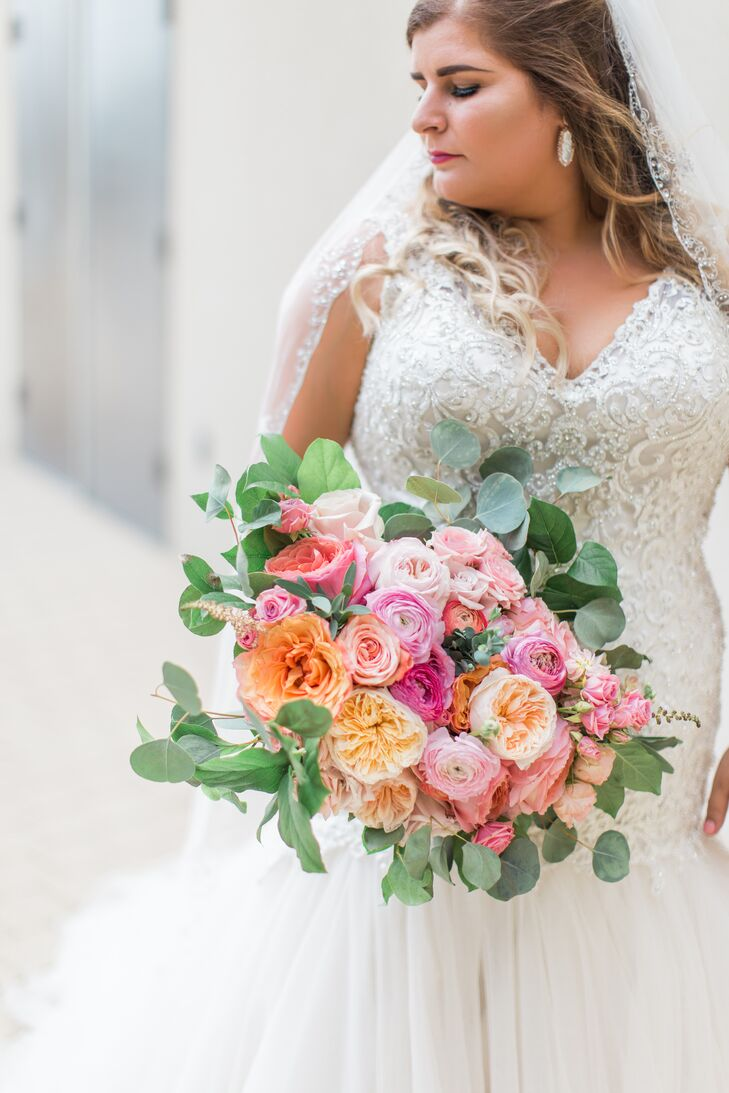 Bright Bouquet of Pink, Coral and Orange Peonies
