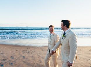 A sophisticated beach theme (with just a few fun shark accents!) brought Mike and Kyle's Coronado wedding to life.